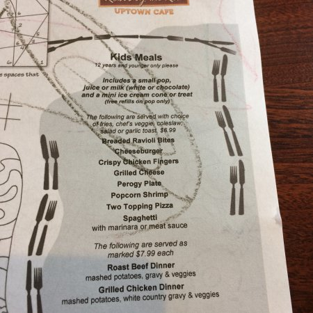 Selkirk, Canada: Kids and breakfast menu's at Roxi's on the Red. Feb 2018