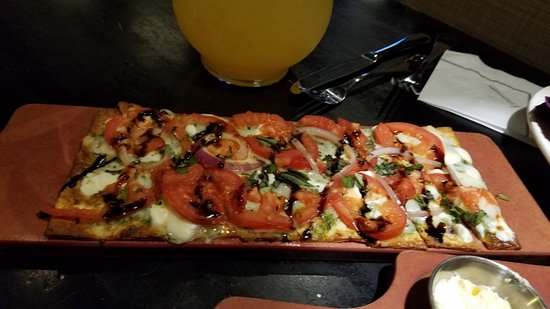 Burr Ridge, IL: Can't recall the exact name: Goat Cheese on flat bread