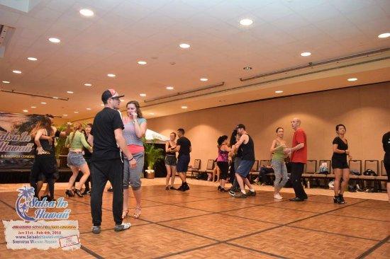 Sheraton Waikiki: my husband and I teaching dance in one of the Sheraton Ballrooms