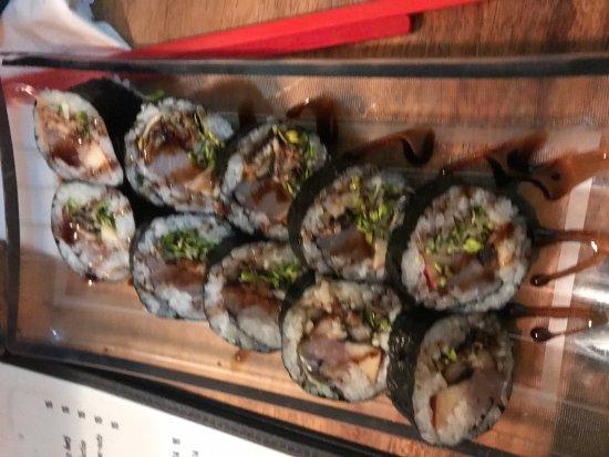 Sushi Rock and Trio: Rock Star roll - unagi, fish, avocado, fuji apple and balsamic pomegranate reduction