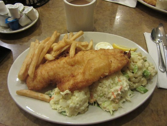 "Lancaster, NY: This is the ""small"" portion battered fish fry with potato salad, cole slaw, macaroni salad, & fr"