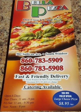 Menu Cover Picture Of Bella Pizza South Windsor Tripadvisor