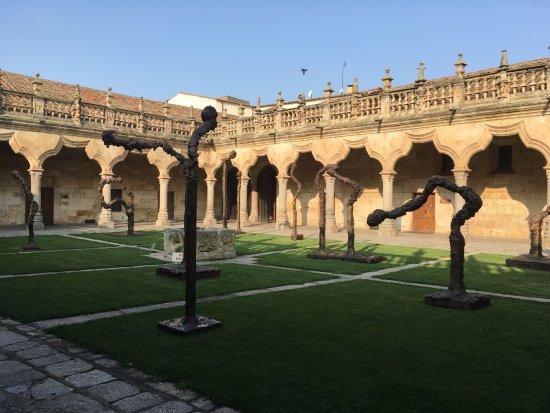 Universidad de Salamanca: Patio da USal com exposição sobre as queimadas intencionais