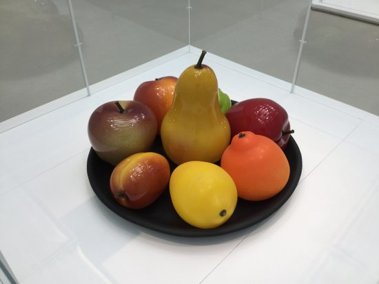 "Corning, NY: Still life in glass- the pear is about 10"" tall"