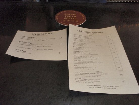 San Leandro, CA: Beer menu at Cleophus