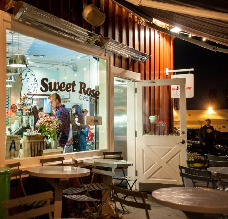 We share our patio with Caffe Luxxe, which provides the beans for our coffee ice cream