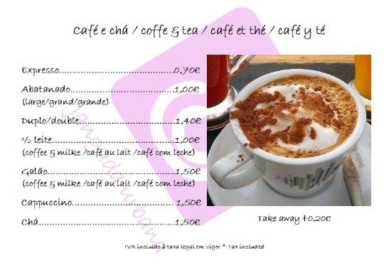 Jangada urbana: Menu, cafés e chás