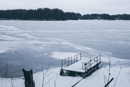 Visaginas, Litauen: Frozen winter lake