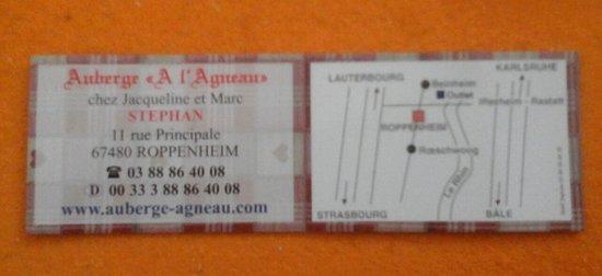 Auberge A L'Agneau: visitenkarte mit anfahrtsbeschreibung.....
