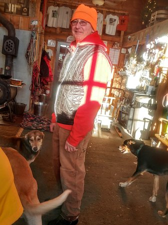 Eden Mills, VT: The owner, Jim Blair and a couple pups.