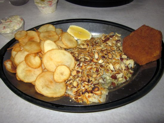 Levittown, PA: Almond Crusted Flounder w/ Fried Eggplant & Seachips