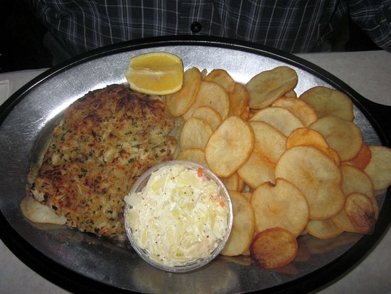 Levittown, PA: Broiled Crab-Stuffed Flouncer w/ Sea Chips & Slaw