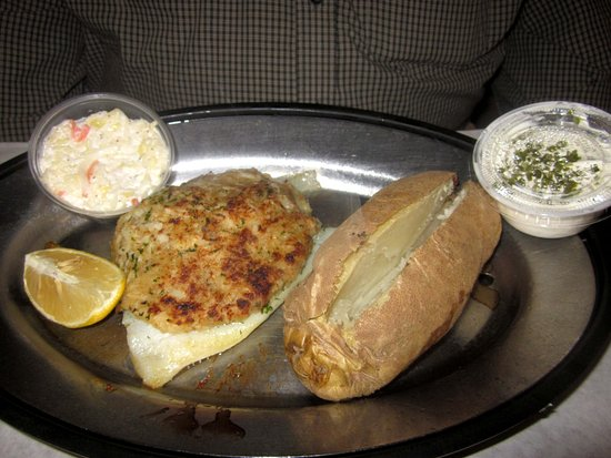 Levittown, PA: Broiled Crab-Stuffed Flounder w/ Baked Potato & Slaw