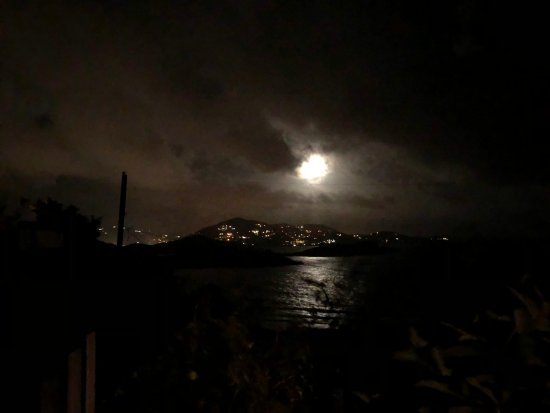 Water Island, St. Thomas: moon-lit night time view from the deck