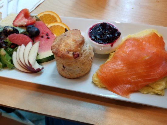 The Scone Witch: Eggs, salmon, scone, jam and fresh fruit