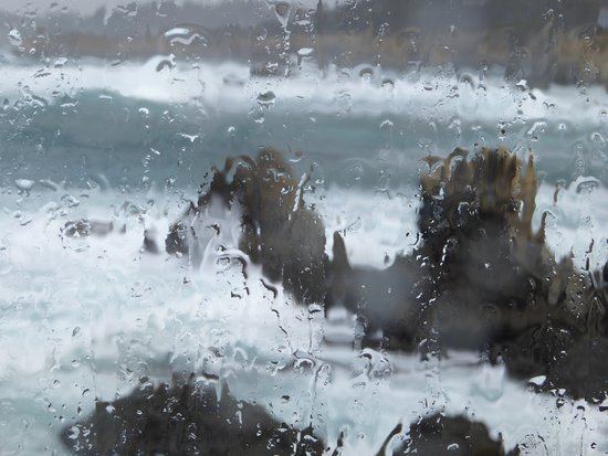 Mendocino Coast Botanical Gardens: Rain spattered view from the Cliff House