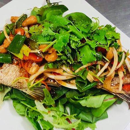 Buddina, Australia: Pla Siam- Crispy whole Barramundi topped with special Thai dressing salad.