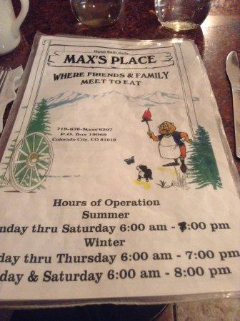 Max's Place: Menu