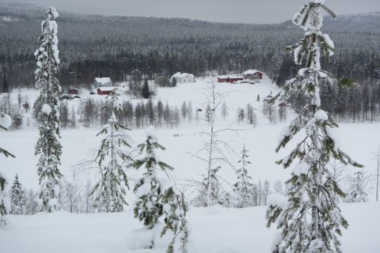 Arctic SnowHotel & Glass Igloos: View from the hill on our snow shoe walk
