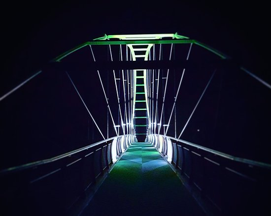 Take a guided twilight ride to the solar and wind powered Perry Bridge.