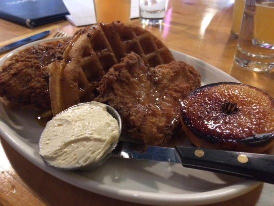 Newington, CT: Chicken and waffles with miso butter and mustard maple syrup