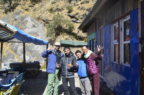 Bagmati Zone, Nepal: Beside me is Raj (our guide) and beside him is Kumar (fellow guide). :)