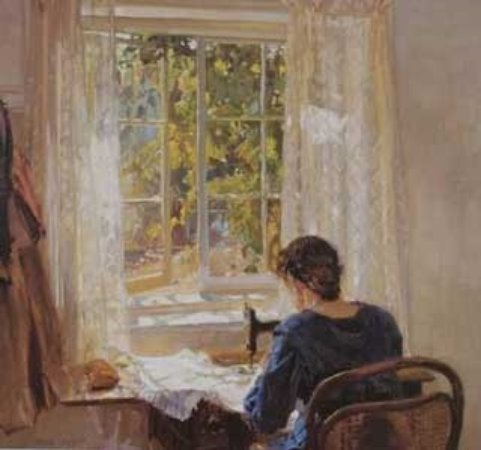 """The Cedars: 'Sewing"""" The Artist's Wife - Sallie"""