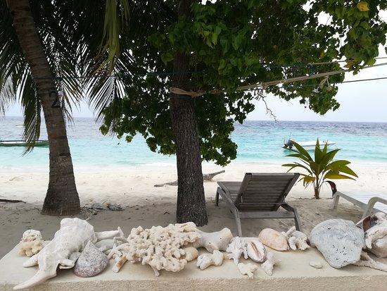 Rinbudhoo: Questo è il cortiletto di Villa Delfino, con spiaggia sul retro della casa.