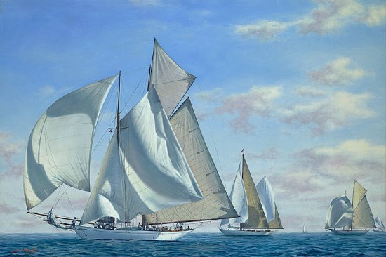 "Teaticket, MA: ""Classic Yacht Regatta- Newport"" 20x30 Oil on Canvas"