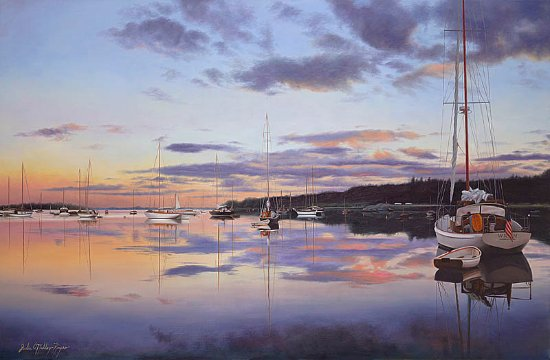 "Teaticket, MA: ""Hurry Sundown"" 26x40 Oil on Canvas Squateague Harbor Cape Cod"
