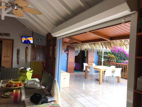 """Rochers Caraibes-Eco Village: Loved the """"open"""" feeling of the cottage with a great view even from the kitchen table."""