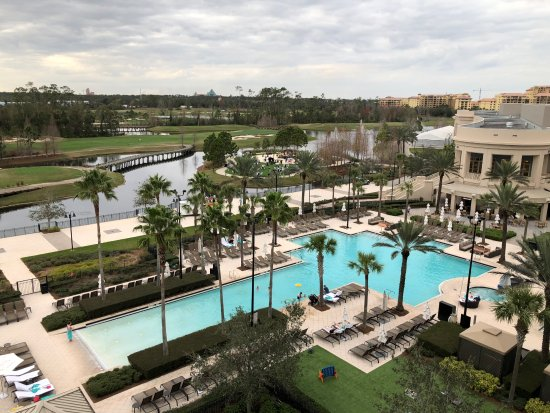 Waldorf Astoria Orlando: Beautiful pool and Disney view from a 5th floor Waldorf Suite