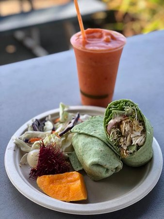 Pepeekeo, Гавайи: fresh fish wrap and a delicious smoothie