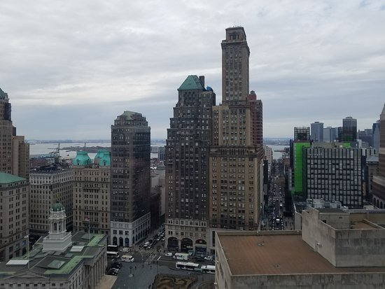 New York Marriott at the Brooklyn Bridge: view from 23rd florr to lower East River, SI ferry in distance