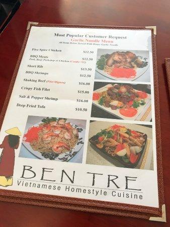 Menu Picture Of Ben Tre Restaurant South San Francisco