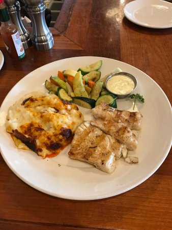 San Mateo, CA: Grilled Alaskan halibut with roasted vegetables and au gratin potatoes
