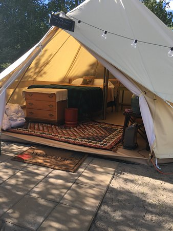"Ririe, ID: ""Here We Have Idaho"" glamping tent-- cozy with luscious bedding. Sleeps 4."