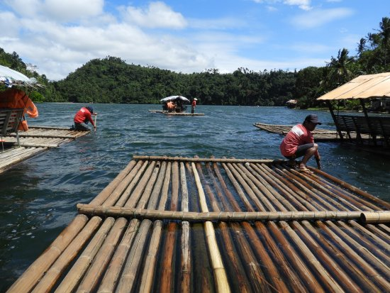 Lakes Pandin: Our three rafts being organized for the tow