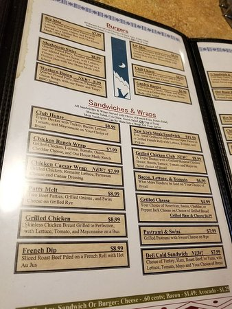 Mary & Moe's Wigwam: Menu
