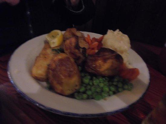 Denton, UK: Fish with veg and roast potatoes