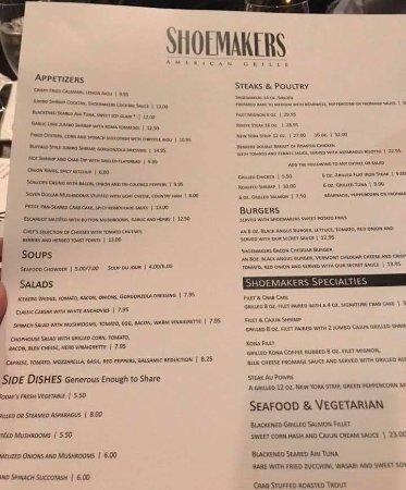 Shoemakers American Grille: Menu
