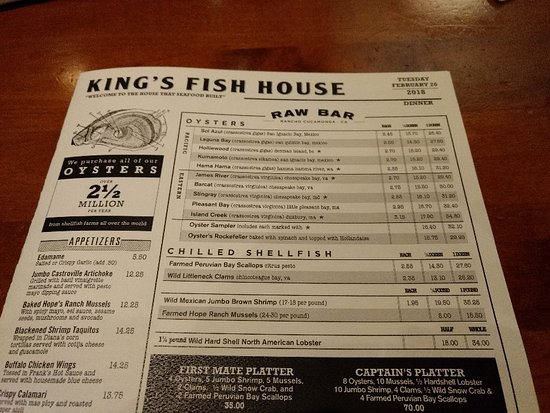 Great menu dated each day to show the fresh catch for King s fish house rancho cucamonga