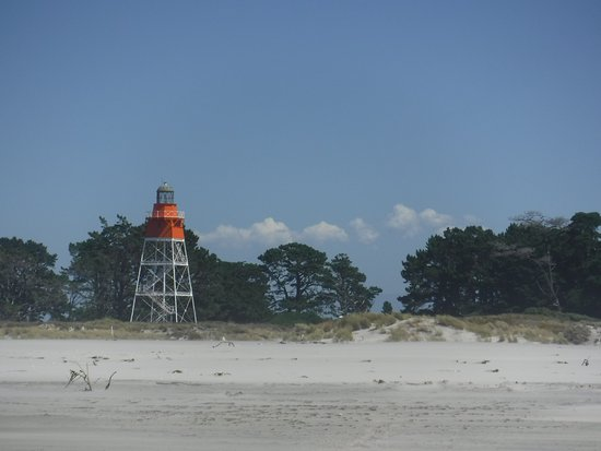 Collingwood, New Zealand: the light house at the end of Fairwell Spit, and where we head to for a cuppa