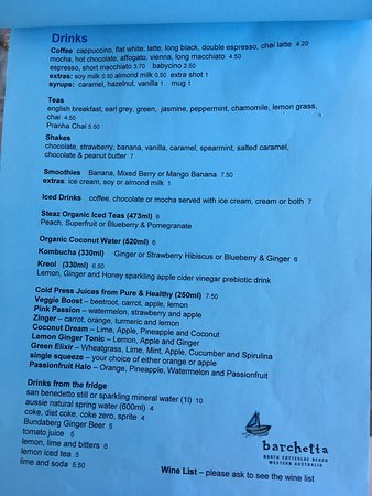 Cottesloe, Australia: Breakfast Menu