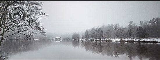 Homburg, Duitsland: Das Blockhaus im Winter