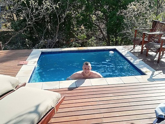 Welgevonden Game Reserve, South Africa: Private deck - Private pool -Elephants were to the left of this