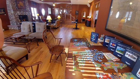 The Bradley Boulder Inn: The Liberty Puzzle table in the great room of the Bradley Inn