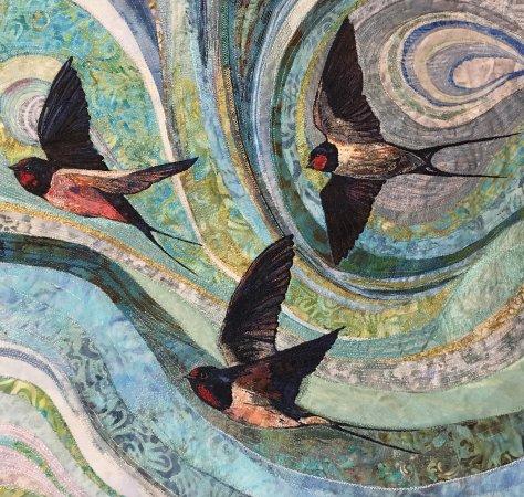 Pembridge, UK: Free Form Machine Embroidery 'Swallows'