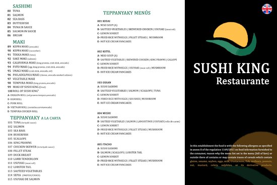 Menu In English 1 Picture Of Sushi King Oriental Restaurant Golf