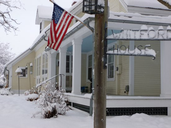 Whitford House: Front/Side View of Main House in Winter